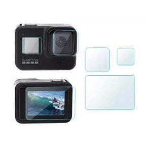 Kit de 3 Películas em Vidro e Filme para Tela Traseira, Tela LCD e Lente da Câmera GoPro HERO8 Black