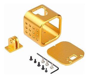 Moldura ou Frame em Alumínio Cor Dourada Para Câmeras Gopro HERO4 Session ou GoPro HERO5 Session