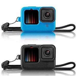 Capa em Silicone Similar com Cordão para Pulso Compatível com Câmeras GoPro HERO9 Black