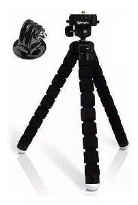 Tripé Flexível tipo Gorillapod Espumado 26,5cm com Adaptador para Celular e Câmeras de Ação