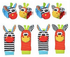 Kit de Braceletes e Meias para Bebês - 8 peças (zebras)