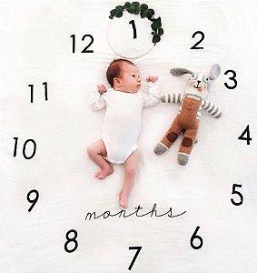 Tapete com números para fotos mensais - Relógio 100x100cm