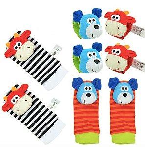 Kit com braceletes e meia - Cachorro e girafa - 8 peças