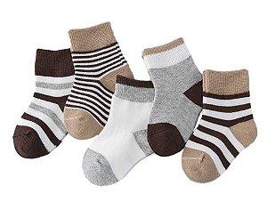 Kit com 5 pares de meias para bebê  - Neutras