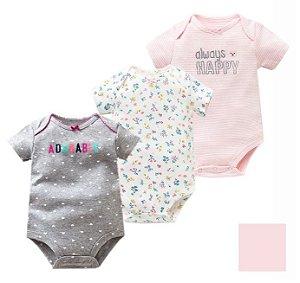 Kit com 3 Bodies de Bebê
