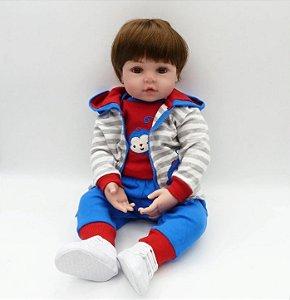 Boneco Realista Menino Bebê Reborn 47 cm - Baby Boy