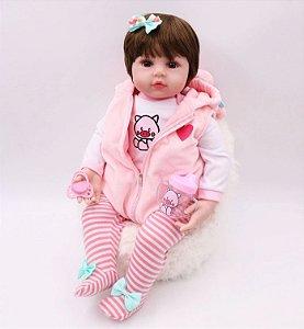 Boneca Realista Bebê Reborn 47 cm com Colete