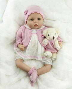 Boneca Realista Bebê Reborn 47 cm com Ursinho