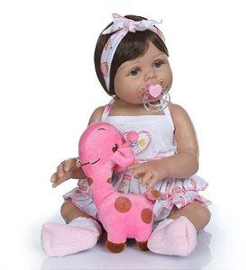 Boneca Realista Bebê Reborn 47 cm com Vestido e Faixa