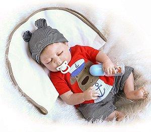 Boneco Realista Bebê Reborn Menino 47 cm com Gorro