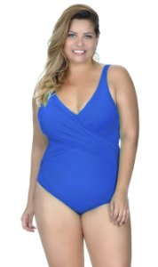 Maiô Plus Size Transpassado com Bojo Removível Agridoce Azul Royal