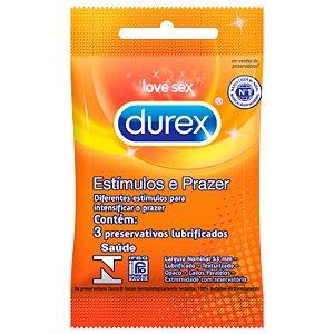 Preservativo Durex Estímulos e Prazer - Com Diferentes Estímulos - 3 Unidades