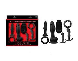 Kit Anal com 1 Pênis com Vibro e Controle Remoto, 2 Plugs e 2 Anéis Penianos - Jovial