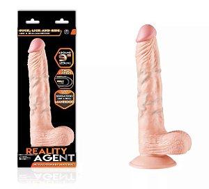 Pênis Realístico em PVC Similar a Pele Humana com Veias, Escroto e Ventosa Reality Agent 23 x 4 cm