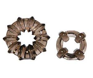2 Anéis para Pênis e Escroto com Saliências e Grande Elasticidade Adam Male Toys