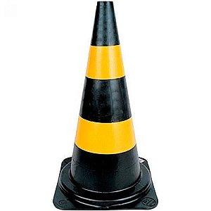 Cone Plástico 75cm preto e amarelo