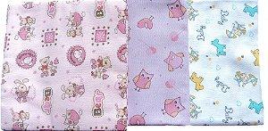 Cueiros flanelados estampados, kit com 3 uni/ 100% algodão, 60cm x 80cm, mas/fem