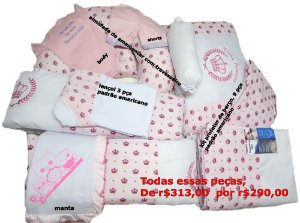 Super kit, body, shorts, manta, lençol 3 pçs, almofada para amamentar e kit berço, 9 pçs padrão americano.