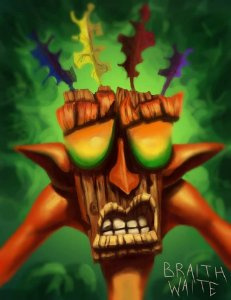 Quadro Decorativo Aku-Aku - Crash Bandicoot