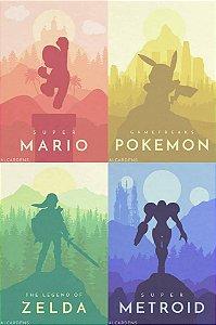 Quadro Decorativo Jogos Nintendo