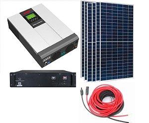 Kit Gerador Energia Solar Inversor 5000W MUST Bateria Lítio 48V 3,5kwH