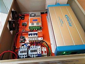 KIT 7 energia solar inversor 3000w c/ transferencial automática Rede de Energia