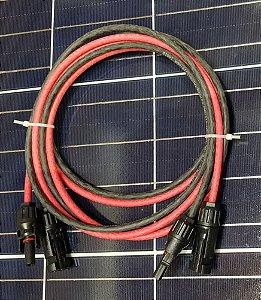 Cabo Solar 6mm² x 2 metros Vermelho e Preto c/ Conector MC4 (Cabo de extensão)