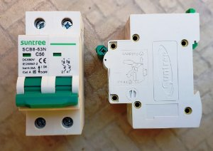 Disjuntor CC Bipolar 50A 400VDC  SCB2 Suntree