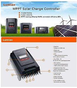 Controlador de Carga Solar MPPT 20A 12/24 Vcc - Lumiax MT2075