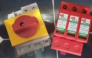 Chave Seccionadora 4 polo Rotativa 32A Solar + DPS 3P 1040VCC 20-40KA