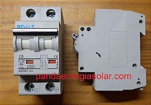 Disjuntor CC Bipolar 50A 600VDC ADDB7-63 ADELS