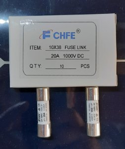 Fusível Solar 10x38 20A 1000VCC gPV CF-10PV FCHFE caixa 10 Peças