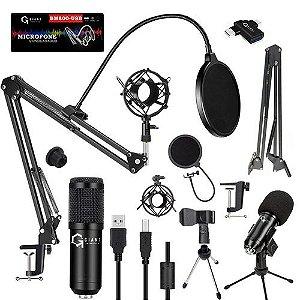 Microfone Estúdio Bm800 Usb + Aranha + Braço + Pop Filter