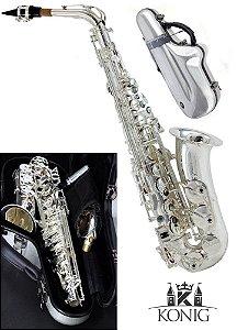 Sax Alto Profissional Konig Silver (prata) Estojo Fibra