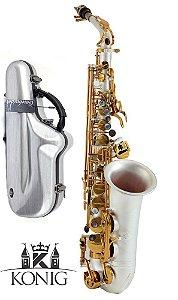 Sax Alto Profissional Konig Prata Fosco Com Chaves Douradas