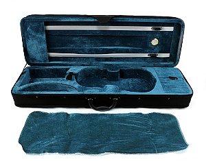 Estojo Case Retangular Preto interior azul Para Violino 4/4 com Higrometro