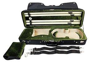 Estojo Case Retangular Preto de Madeira Para Violino 4/4 Master Luxo Cabe 4 Arcos