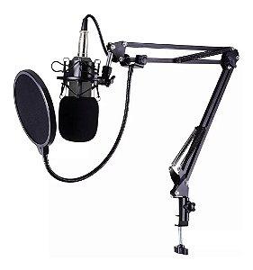 Kit Completo Microfone Condensador Estúdio Bm800 + Aranha + Braço Articulado + Pop Filter