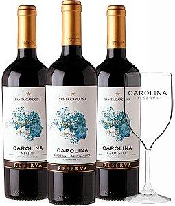 Kit Vinhos Carolina Reserva Cabernet Sauvignon + Carmenère + Merlot + Taça de Brinde