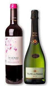 Confraria Especial de Natal: 99 Rosas Tempranillo Cabernet Sauvignon + Espumante Veuve Du Vernay Brut