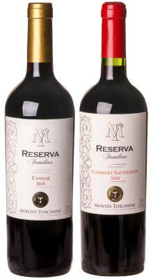 Kit Uruguai: Vinho Montes Toscanini Reserva Familia Tannat  + Reserva de Família Cabernet Sauvignon