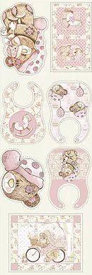 TECIDO FUXICOS E FRICOTES COLEÇÃO BABY DIGITAL - BABADORES MENINA - PREÇO DE 0,49 X 1,45