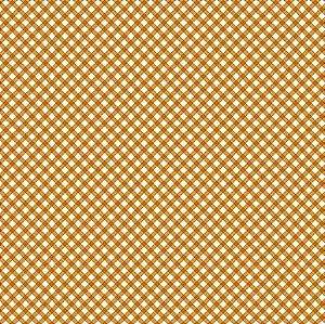 TECIDO 100% ALGODÃO FUXICOS E FRICOTES COLEÇÃO MICRO XADREZES - MICRO XADREZ LARANJA - PREÇO DE 0,50 X 1,50