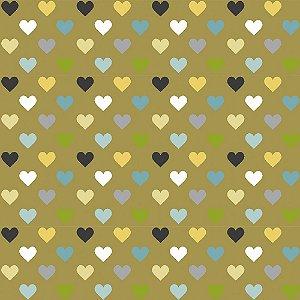 TECIDO 100% ALGODÃO FABRICART COLEÇÃO HONEY BEE - MULTI HEARTS - PREÇO DE 0,50 x 1,50MT
