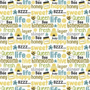 TECIDO 100% ALGODÃO FABRICART COLEÇÃO HONEY BEE - LETTERS BEE - PREÇO DE 0,50 x 1,50MT