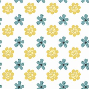 TECIDO 100% ALGODÃO FABRICART COLEÇÃO HONEY BEE - BEE FLOWER - PREÇO DE 0,50 x 1,50MT