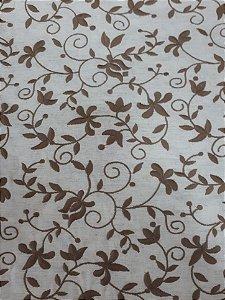 TECIDO BORDADO NO LINHO CONTÍNUO MARROM - 0,70 x 1,45 M