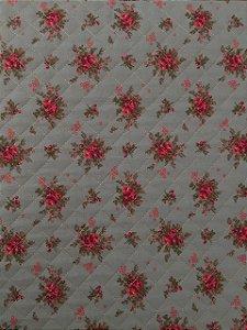 TECIDO MATELASSADO FLORAL - PREÇO DE 0.50 x 1,50