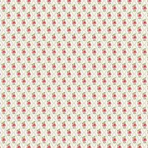 TECIDO 100% ALGODÃO FABRICART- SHABBY CHIC-ROSINHAS NA MOLDURA CREME- PREÇO DE 0.50 x 1,50