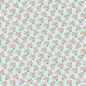 TECIDO 100% ALGODÃO FABRICART- SHABBY CHIC - ROSAS EM FUNDO LISTRADO- PREÇO DE 0.50 x 1,50